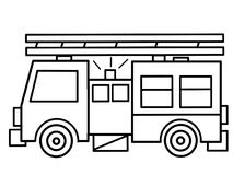 Fire Truck kids educational coloring pages. On this picture you can see great coloring page with geomeyrical elements for kids education Stock Images