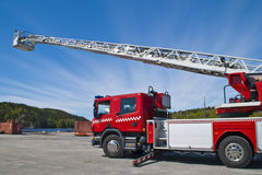 Fire truck (ladder car). Halden fire department checks and maintains the ladders on the fire truck at the Halden port Stock Image