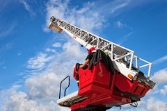 Fire truck ladder. Checks and maintains the ladders on the fire truck Royalty Free Stock Photo