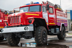 Fire truck. Is a motor vehicle chassis equipped with fire fighting equipment, equipment used in fire-fighting and rescue work Royalty Free Stock Photo