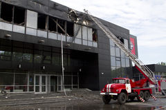 Fire truck near the sports complex Donbass after the fire Stock Photo