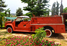 Fire truck Old. Orange fire truck Old fire department engine Royalty Free Stock Images
