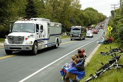Fire Truck Parade 5. Rescue vehicles on display during a fire muster parade Royalty Free Stock Photos