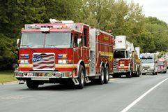 Fire Truck Parade 9. Fire and rescue vehicles being driven in a fire muster parade Stock Photos