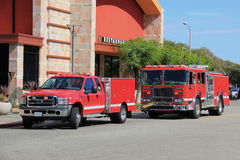 Fire Truck and Paramedic Truck rush to help people at the scene Stock Image