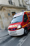 Red Fire Truck in Paris Stock Photos