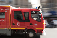 Fire truck in  Paris, France Royalty Free Stock Images