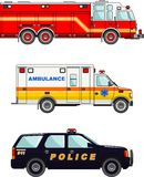 Fire truck, police and ambulance cars  on. Detailed illustration of fire truck, police and ambulance cars in a flat style Royalty Free Stock Photography