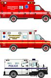 Fire truck, police and ambulance cars  on. Detailed illustration of fire truck, police and ambulance cars in a flat style Stock Images