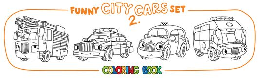 Funny small cars with eyes. Coloring book set. Fire truck, police car, taxi and ambulance. Small funny vector cute cars with eyes and mouth. Coloring book set Stock Image