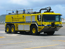 Fire truck in Princess Juliana Airport, St. Maarten Royalty Free Stock Photography