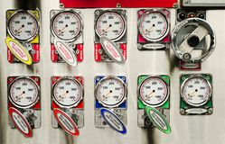Fire truck pump panel Royalty Free Stock Photos