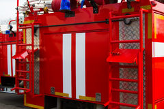 Fire truck. Pumping equipment. Royalty Free Stock Image
