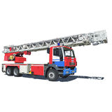 Fire truck. Red blue color vector illustration of isolated on a white background Stock Images