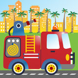 Fire truck. A red fire truck in city road, vector cartoon illustration. EPS 10 Stock Images