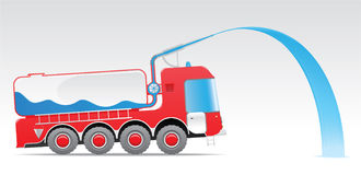 Fire truck. Red fire truck pours water, eps 8 Stock Photos