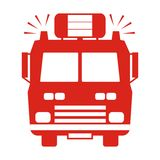 Fire truck, red silhouette Stock Photo