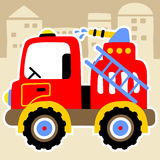Fire truck. Red fire truck with water cannon, vector cartoon illustration Royalty Free Stock Images