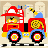 Fire truck. Red fire truck with water cannon, vector cartoon illustration Royalty Free Stock Image