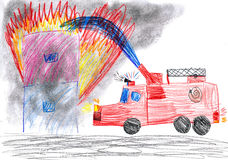 Fire truck rescues house. child drawing. Fire truck rescues burning house. child drawing stock image