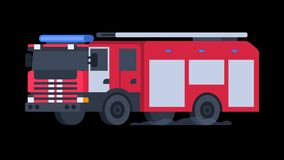 Fire Truck Rides with Flashing Lights On. Transparent Background. Motion Graphics. Animation Video stock video