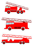 Fire truck set. Retro fire truck on a white background. Place for any text Stock Image