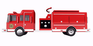 Fire Truck side view. On whtie background Royalty Free Stock Photo