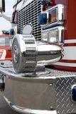 Fire Truck Siren. A close up view of a chrome siren on a fire truck stock images