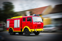 Fire Truck in situation with flashing lights, blurred motion Royalty Free Stock Image