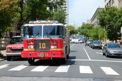 Fire truck on standby at site of Philadelphia Buil Royalty Free Stock Photos