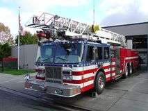 Fire Truck and Station. City of Napa Fire Truck in Front of Station No. 1.  City Name Removed Stock Images
