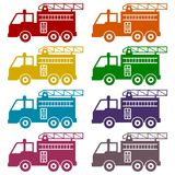 Fire truck, Fire station icons set. Icon Stock Photo