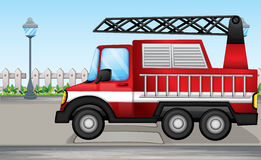 A fire truck at the street. Illustration of a fire truck at the street Royalty Free Stock Photography