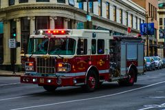 Fire truck, San Francisco department. The fire truck in the streets of San Francisco. Flashing lights royalty free stock photos