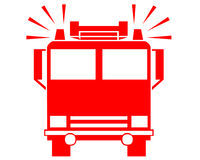 Fire truck symbol. Closeup of fire truck symbol on white background Stock Photography