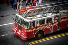 Fire truck in Times Square, New York Stock Photo