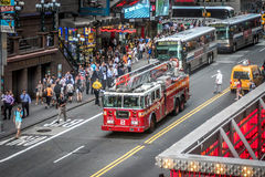 Fire truck in Times Square, New York Stock Images
