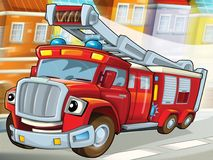Fire truck to the rescue - illustration for the children. The happy and colorful illustration for the children Royalty Free Stock Image
