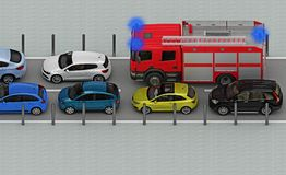 Fire truck is in traffic jam. Above view. 3d rendering Stock Photography