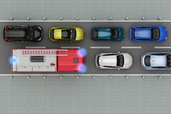 Fire truck is in traffic jam. Top view. 3d rendering Royalty Free Stock Photography
