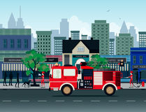 Fire truck. S with the city as a backdrop Royalty Free Stock Image