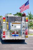 Fire truck with United States flag Royalty Free Stock Photo