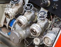 Fire truck valves Royalty Free Stock Photos