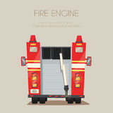 Fire truck. Vector cartoon illustration. Isolated background. American transport. Service. Back view Modern auto Stock Photos