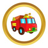 Fire truck vector icon. In golden circle, cartoon style isolated on white background Royalty Free Stock Photos