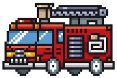 Fire truck. Vector illustration of Cartoon Fire truck - Pixel design Royalty Free Stock Photography