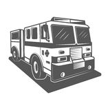 Fire truck vector illustration in monochrome vintage style. Design element for logo, label, emblem Royalty Free Stock Image
