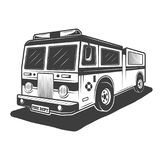 Fire truck vector monochrome style illustration. Fire truck vector illustration in monochrome vintage style isolated on white background Stock Photos
