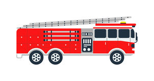 Fire truck vector illustration. Fire truck rescue engine transportation and vector transport safety fire truck. Firefighter emergency red vehicle fire truck and Stock Images