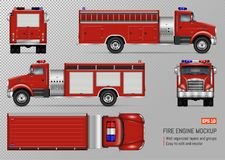 Fire truck vector template. Fire truck engine vector mockup for vehicle branding, corporate identity. View from front, back, top, left and right side. All Royalty Free Stock Photo